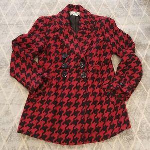 Jolt Red & Black Pea Coat